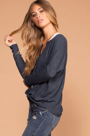 Raquel Navy Button Tie-Front Waffle Knit Top