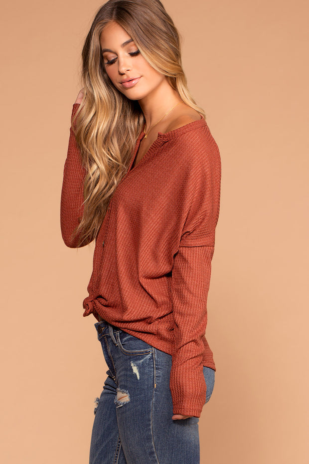 Raquel Rust Button Tie-Front Waffle Knit Top