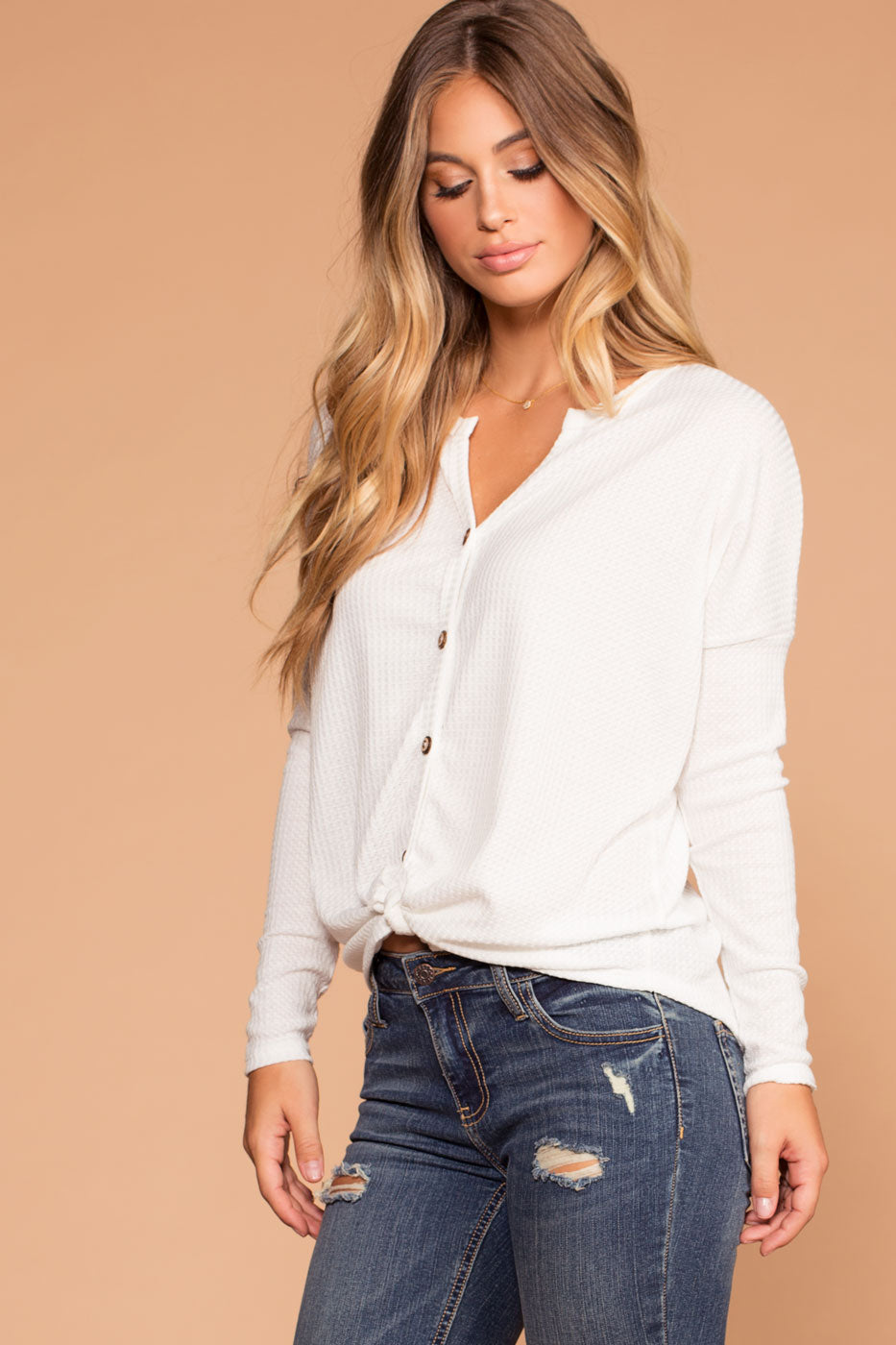 bb9660f46dc Raquel White Button Tie-Front Waffle Knit Top