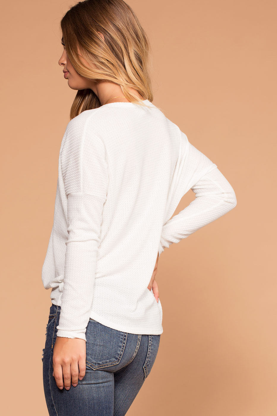 Raquel White Button Tie-Front Waffle Knit Top