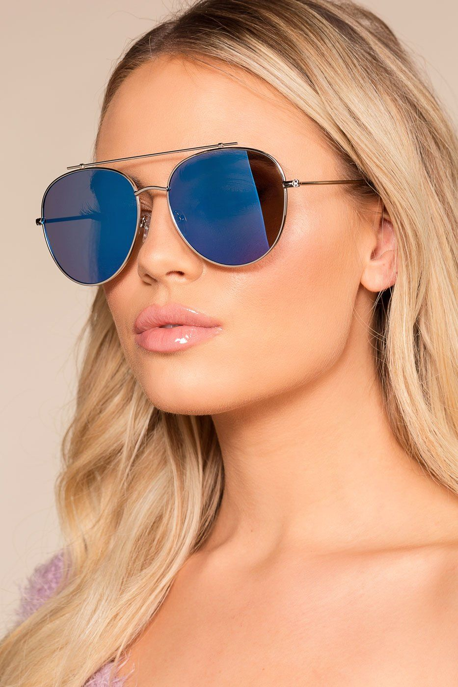 ... Blue Mirrored Aviator Sunglasses. 1  2 9d545a0db31