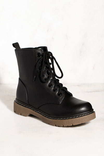 Lace Up Combat Black Boots