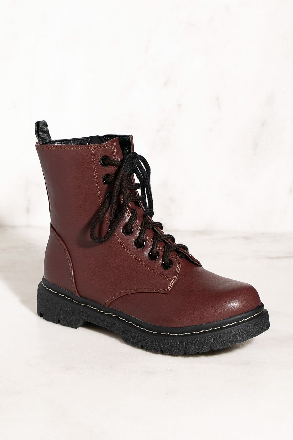 Combat Lace Up Burgundy Boots