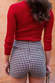 Rhetta Black and White Houndstooth Skort