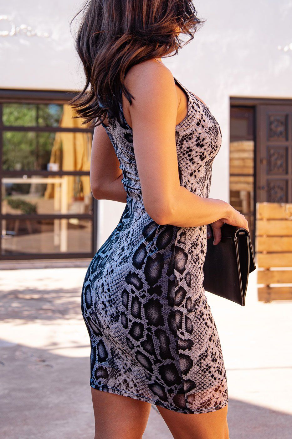 Charcoal Snakeskin Bodycon Dress