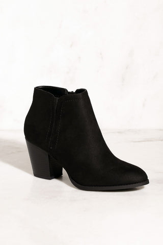 Trick Shot Black Vegan Suede Booties