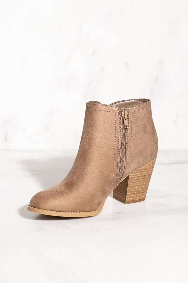 Faux Suede Taupe Booties