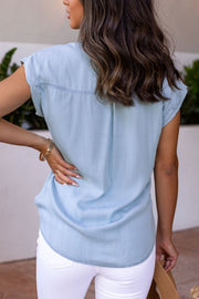 Ronna Light Wash Denim Button Up Top