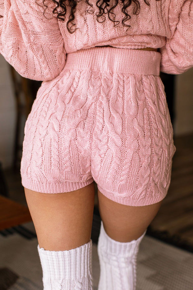 Rosa Blush Cable Knit Sweater Shorts