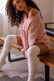 Blush Cable Knit Sweater Top