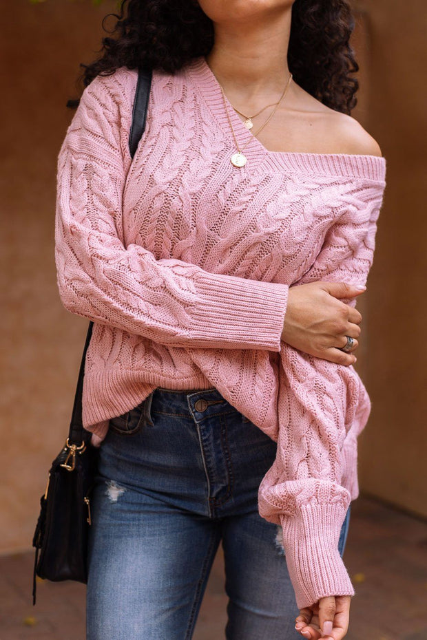 Rosa Blush Cable Knit Sweater Top