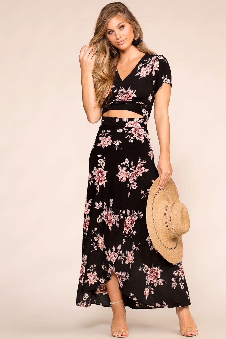 edae072c224 Rosalie Black Floral Maxi Dress