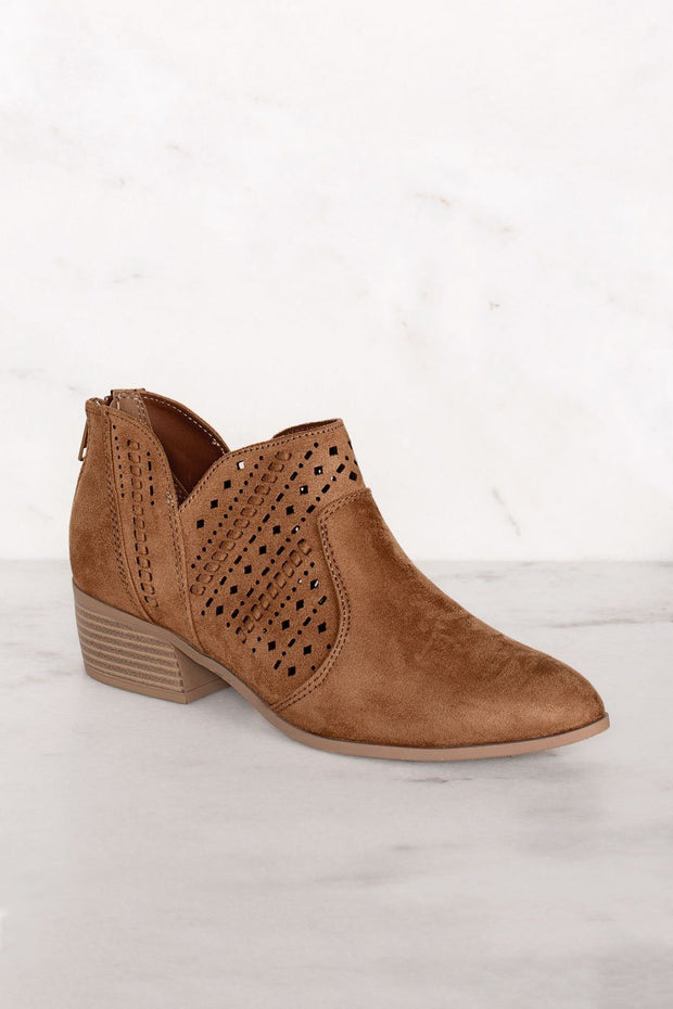 Rosie Chestnut Laser Cut Booties | Shop Priceless