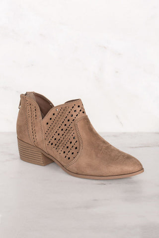 Rosie Chestnut Laser Cut Booties