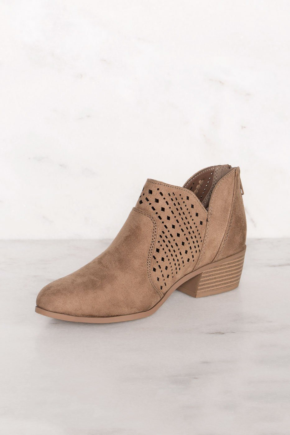Rosie Taupe Laser Cut Booties | Shop Priceless