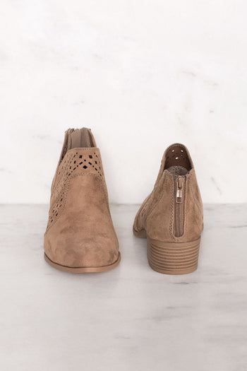 Rosie Taupe Laser Cut Booties