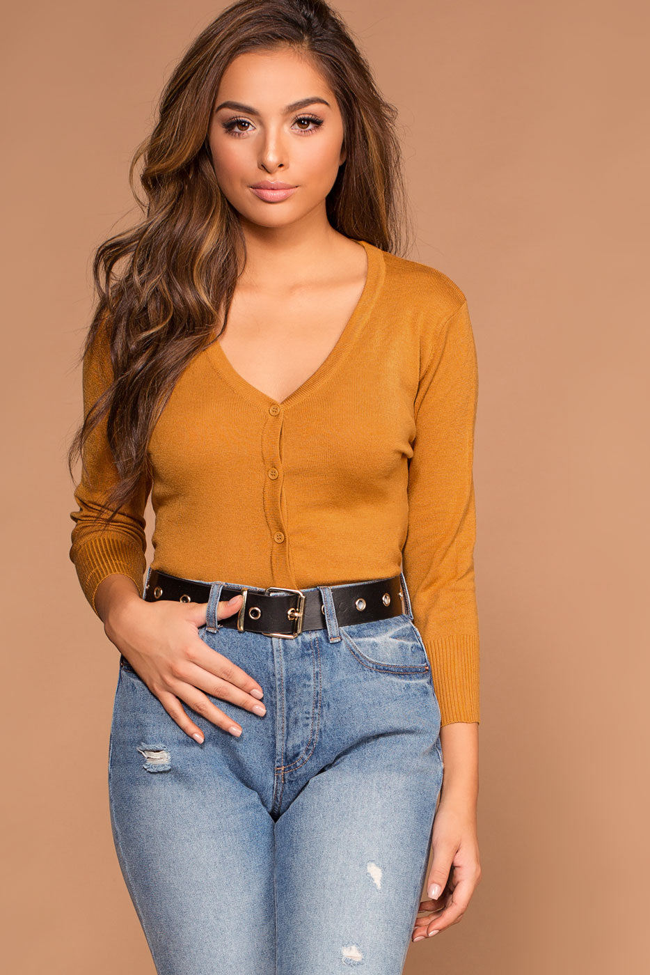 1af461144e0 Roxanne V-Neck Button-Up Caramel Sweater Cardigan Top
