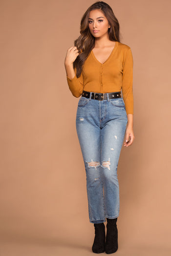 Roxanne V-Neck Button-Up Caramel Sweater Cardigan Top | MAK