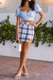 Blue and Pink Mini Skirt