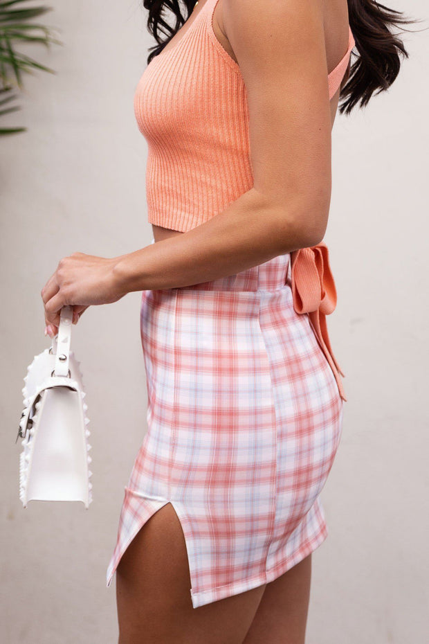 Sabrina Blush Plaid Mini Skirt