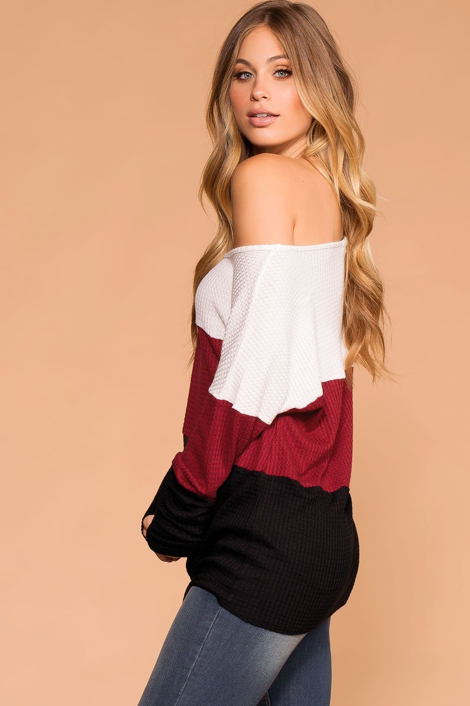 Burgundy and Black | Color Block Waffle Knit Tie-Front Top