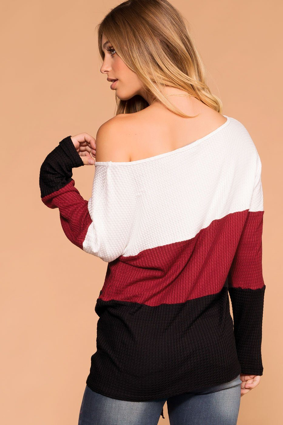 Shop Priceless | Burgundy | Color Block Top | Womens