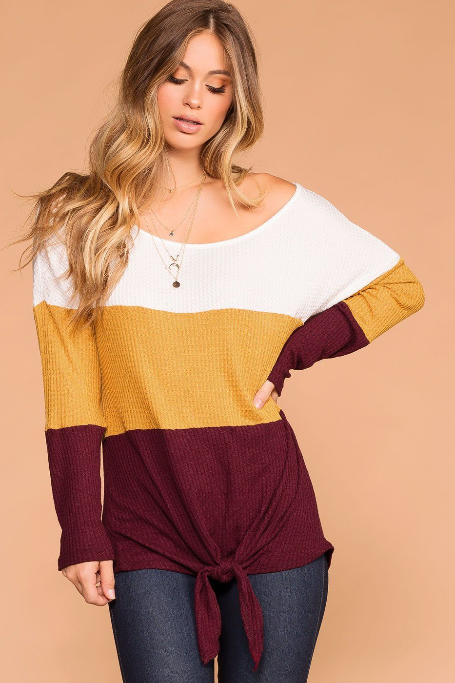 96ae14e634c9a4 Sabrina Mustard and Burgundy Color Block Waffle Knit Tie-Front Top