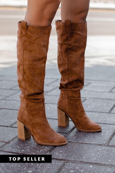 Saints Tan Knee High Block Heel Boots