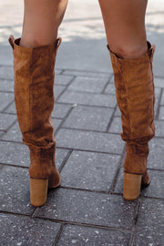 Tan Knee High Block Heel Boots