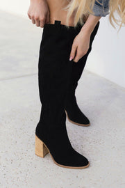 Saints Black Knee High Block Heel Boots