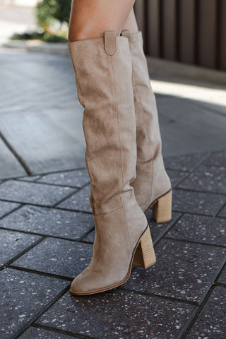 Follow Me Taupe Over The Knee Boots