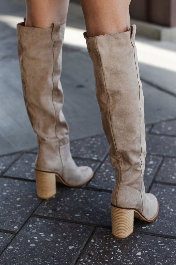 Taupe Knee High Block Heel Boots