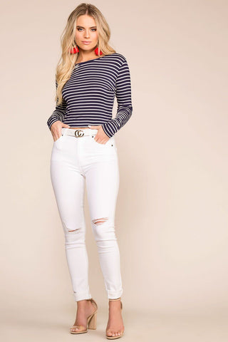 Clean Navy Striped High Waisted Tie Pants