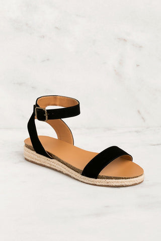 Fia Fringe Sandals - Black