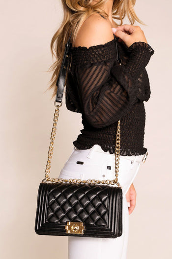 Priceless | Black | Quilted | Shoulder Bag | Womens | Accessories