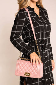 Blush Quilted Shoulder Handbag