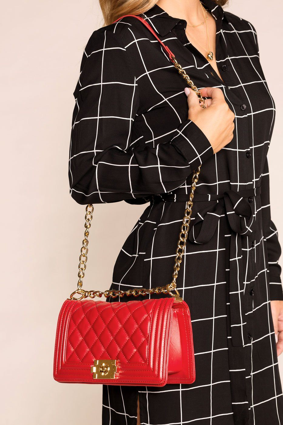 Red Quilted Shoulder Handbag