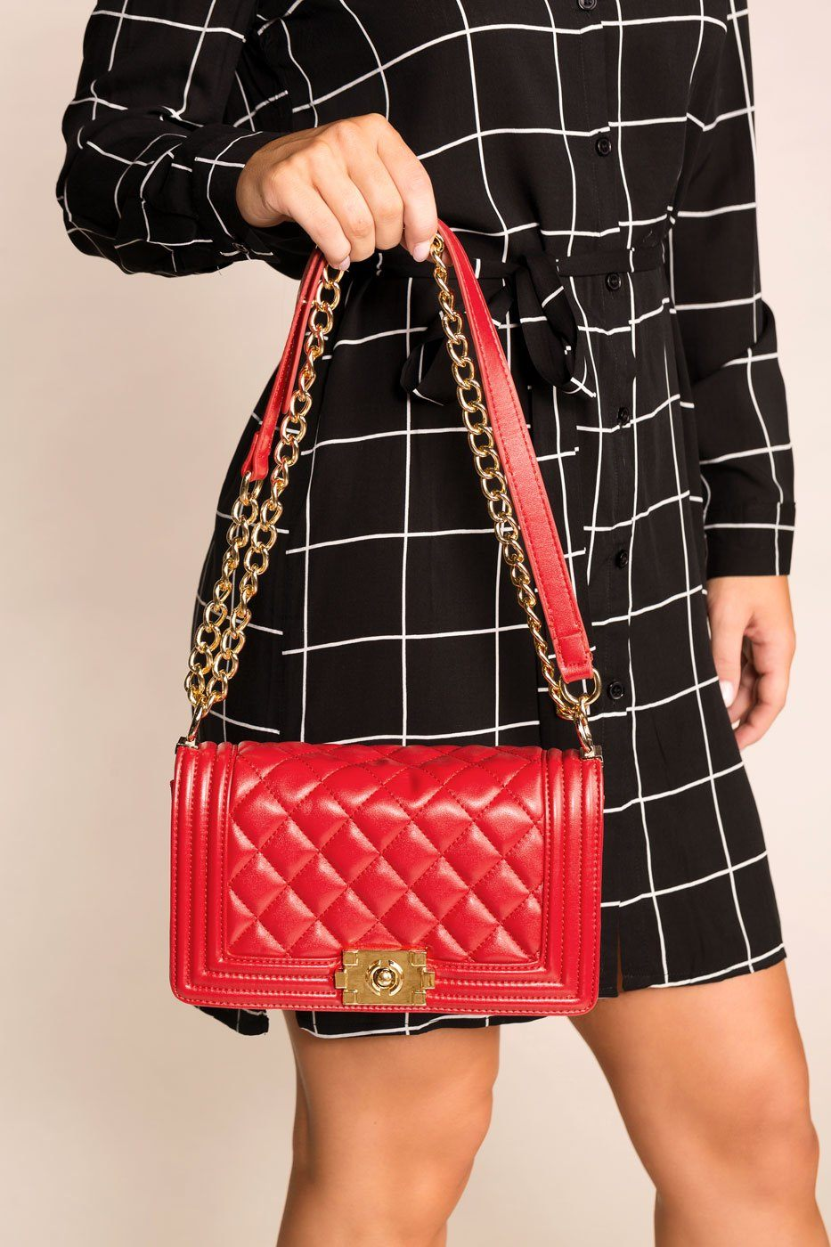 Shop Priceless | Red | Quilted Handbag |