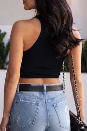 Light Blue and Black Ribbed Crop Tank Top Bundle