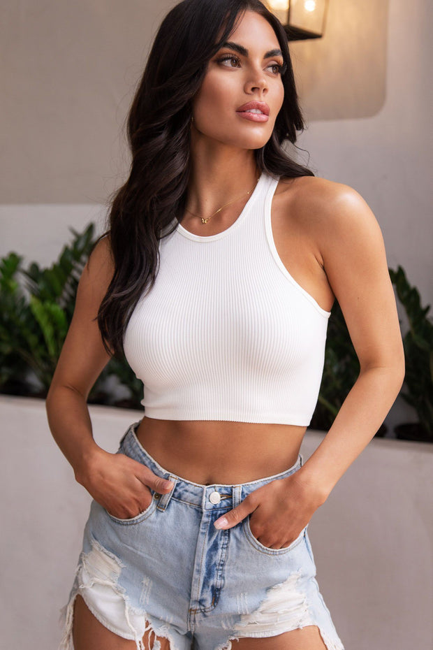White Ribbed Crop Tank Top