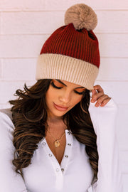 Sari Rust Two-Tone Knit Beanie