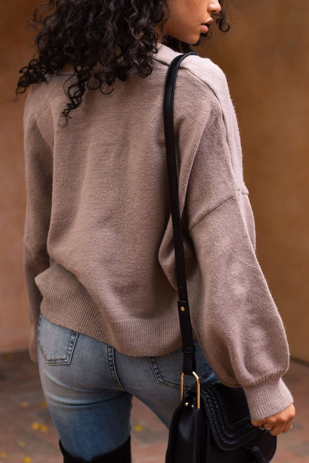 Mocha Balloon Sleeve Sweater