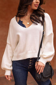 White Balloon Sleeve Sweater