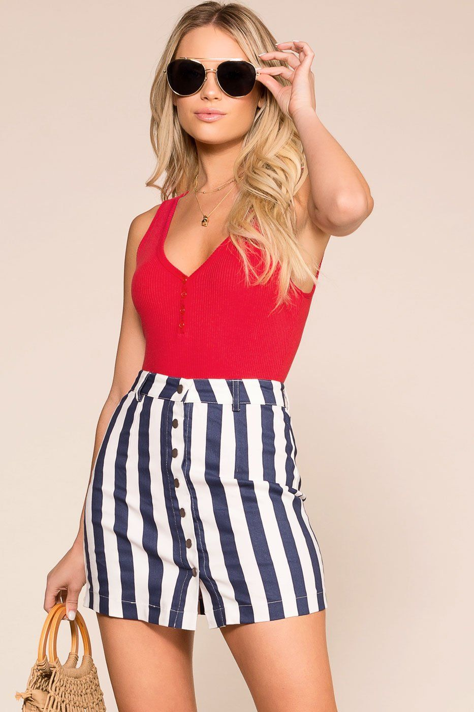Priceless | Navy Striped | Button Skirt | Womens