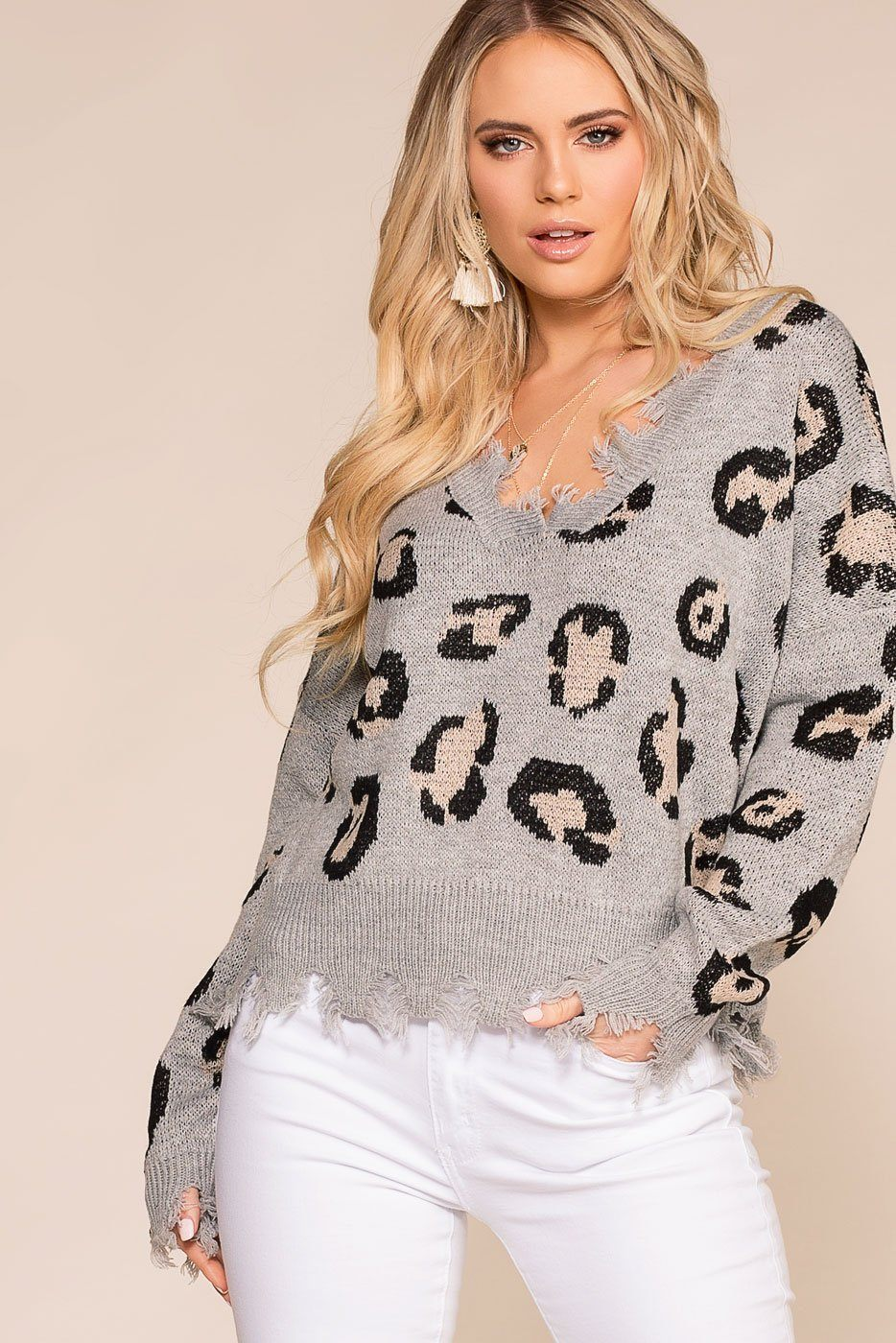 Priceless | Grey Leopard | Distressed Sweaters | Womens