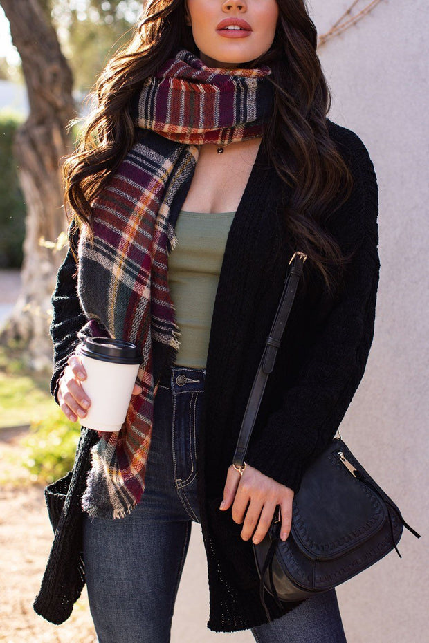 Serene Black Cable Knit Cardigan