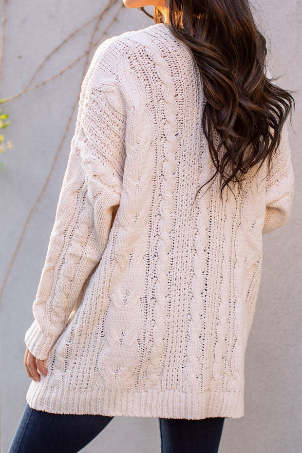 Ivory Cable Knit Cardigan