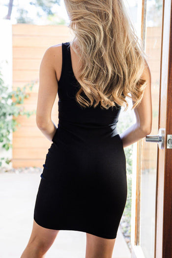 Ribbed Bodycon Black Dress