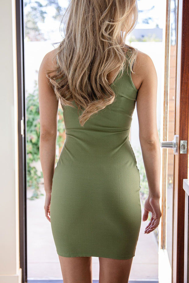 Olive Ribbed Bodycon Dress
