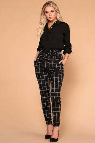 Elsbeth Stripe Highwaist Crop Pants - Black
